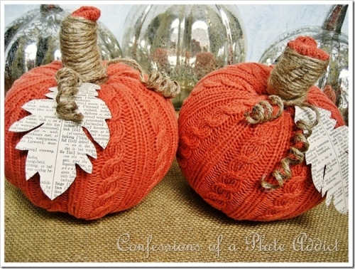 pumpkins made from old sweaters