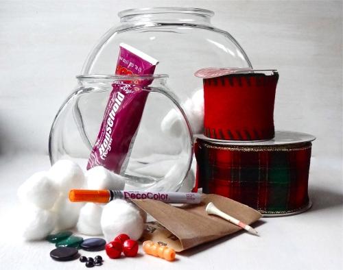 Fishbowl snowman materials