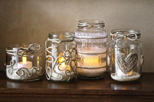 candle holders made from glass jars and jute