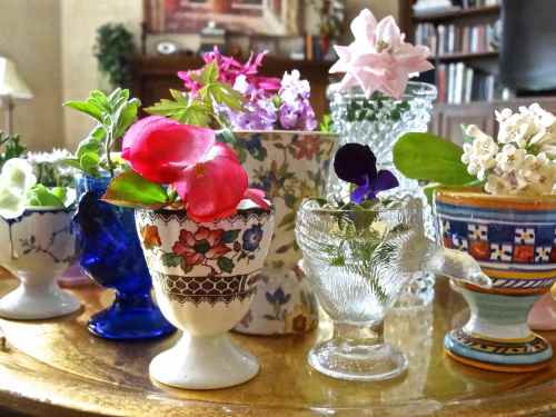 Egg Cups as Mini Vases