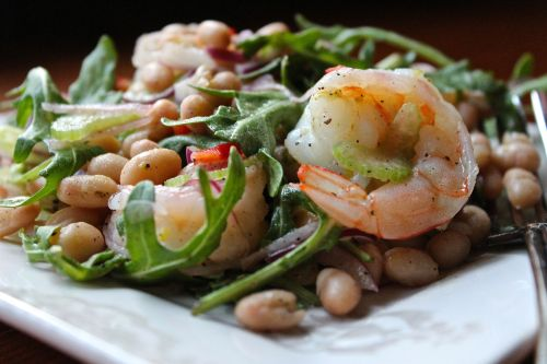 whitebean, shrimp, and arugula salad