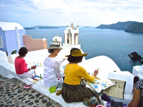 Plein Air painting in Santorini