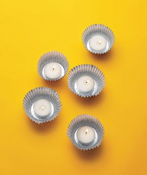 Foil Cupcake Liners as Candleholders