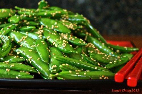 Sugar Snap Peas with Sesame Seed Dressing