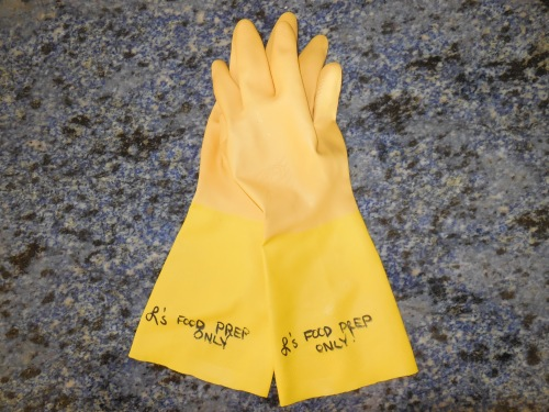 Kitchen Tip: Designate a pair of gloves for food preparation
