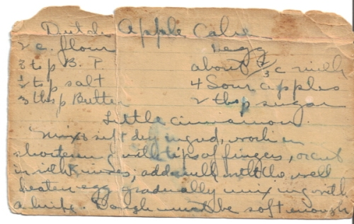Hand-Written Dutch Apple Cake Recipe