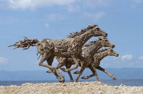 Driftwood Horse Sculptures by James Doran