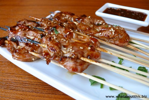 Grilled Pork Kebabs with ginger Molasses Barbecue Sauce