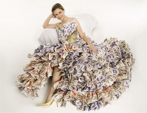 Money Dress: Dress ,made from recycled materials
