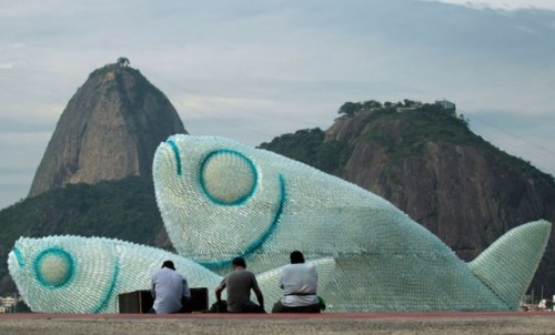 Fish Sculpture From Discarded Bottles
