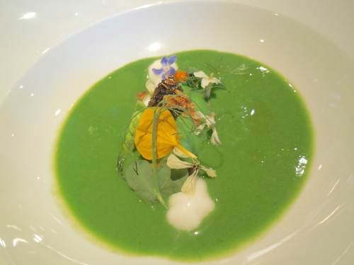 Edible Flowers on Chilled Pea Soup