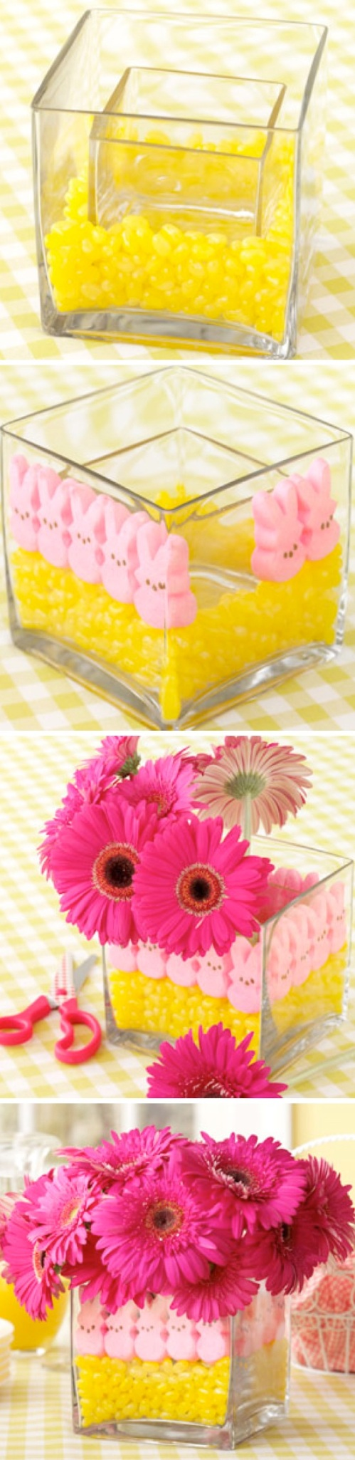 Easter Peeps and Flower Centerpiece