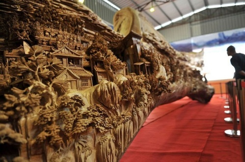 12-Foot-Long Wood Carving