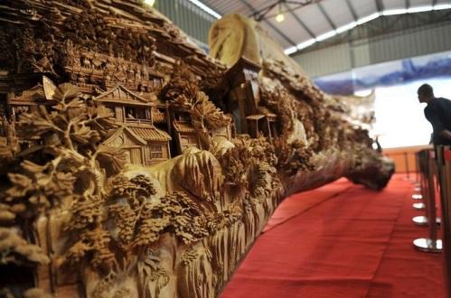 12-Foot-Long Wood Carving