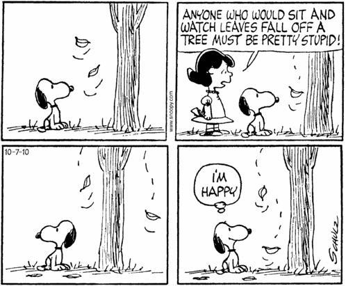 Snoopy and autumn leaves