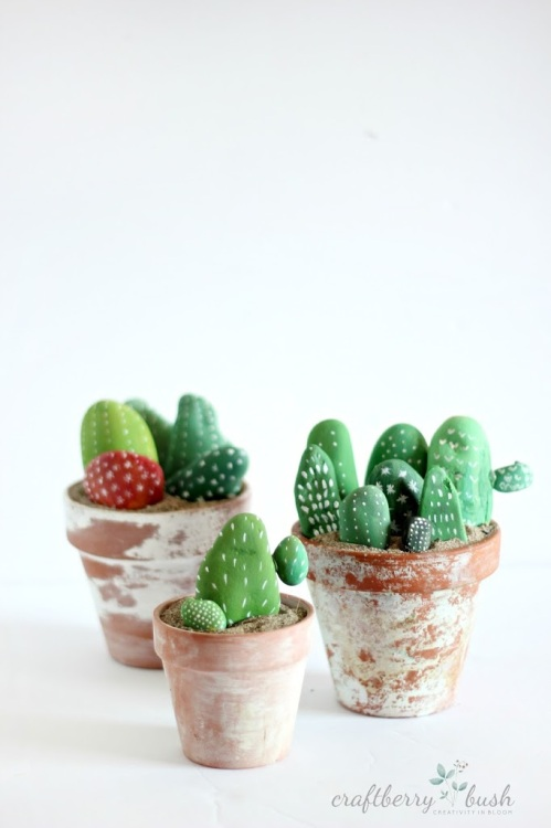 Cacti Made Of Painted Rocks