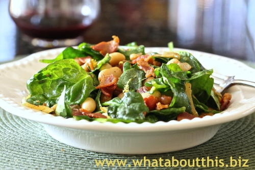 Cannellini Beans with Wilted Spinach and Bacon